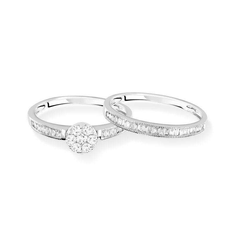 Bague et alliance 1/2 tour or 750 blanc diamant - vue VD2
