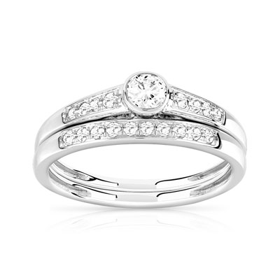 Bague et Alliance demi-tour or 750 blanc diamant - vue V1