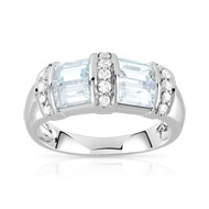 Bague or 750 blanc aigue marine et diamant