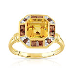 Bague or 750 2 tons citrine et grenat