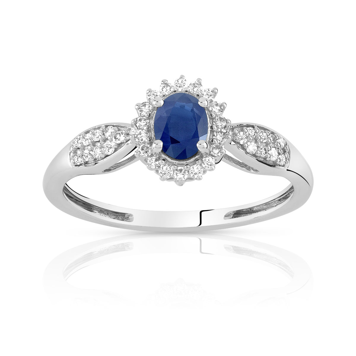 Bague en Or 750 Saphir et Diamants - vue 1