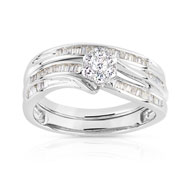 Bague et alliance 1/2 tour or 750 blanc diamant