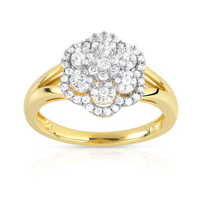 Bague or 750 2 tons diamant - vue V1