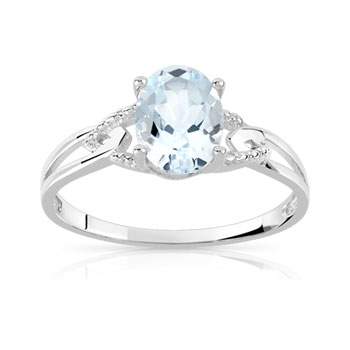 Bague or 750 blanc aigue marine
