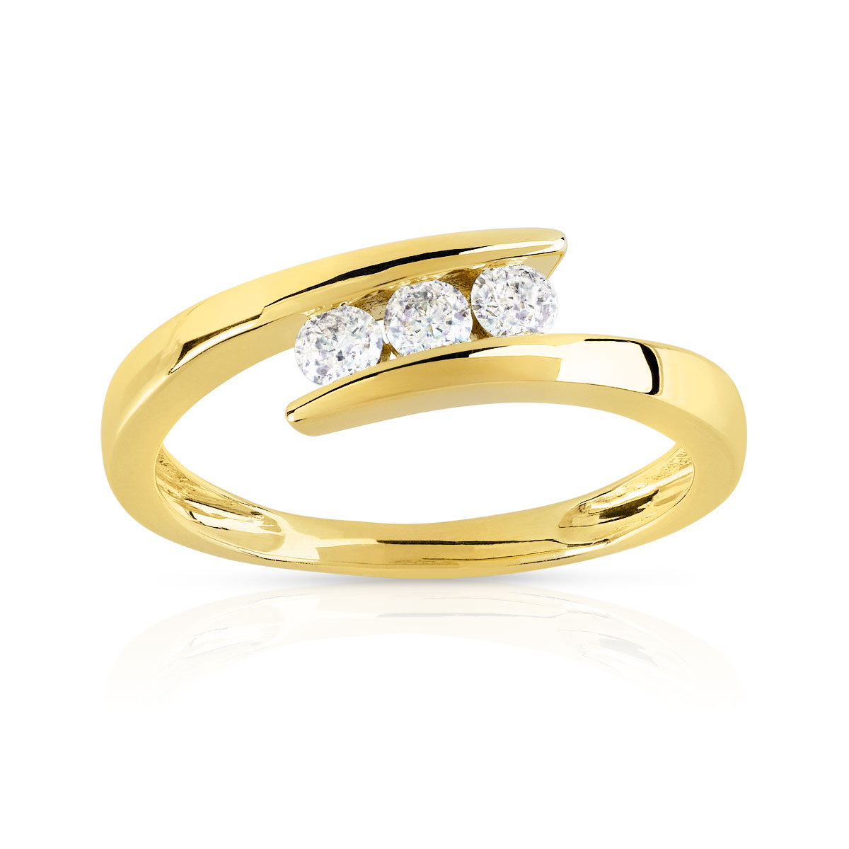 Bague Trilogy or 750 jaune diamant - vue V1
