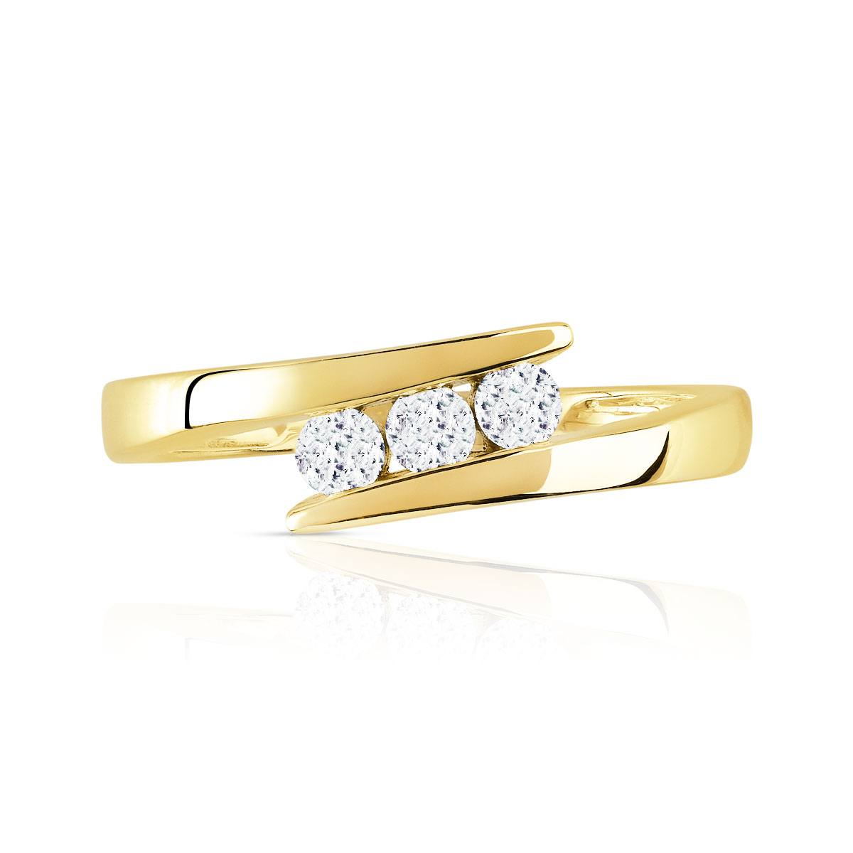 Bague Trilogy or 750 jaune diamant - vue 3