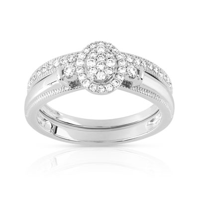 Bague et alliance 1/2 tour or 750 blanc diamant - vue V1