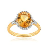 Bague or 750 2 tons citrine et diamant