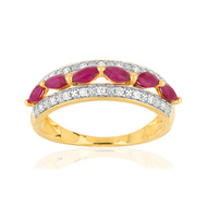 Bague or 750 2 tons rubis diamants