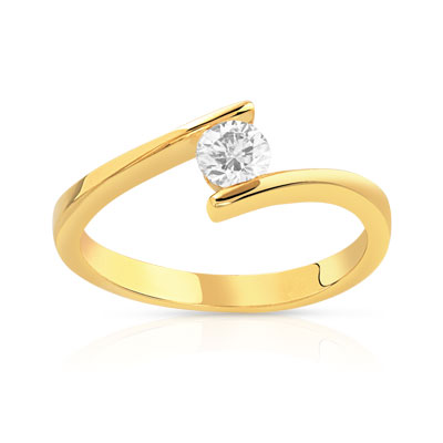 Bague solitaire or 750 jaune diamant 30/100e de carat