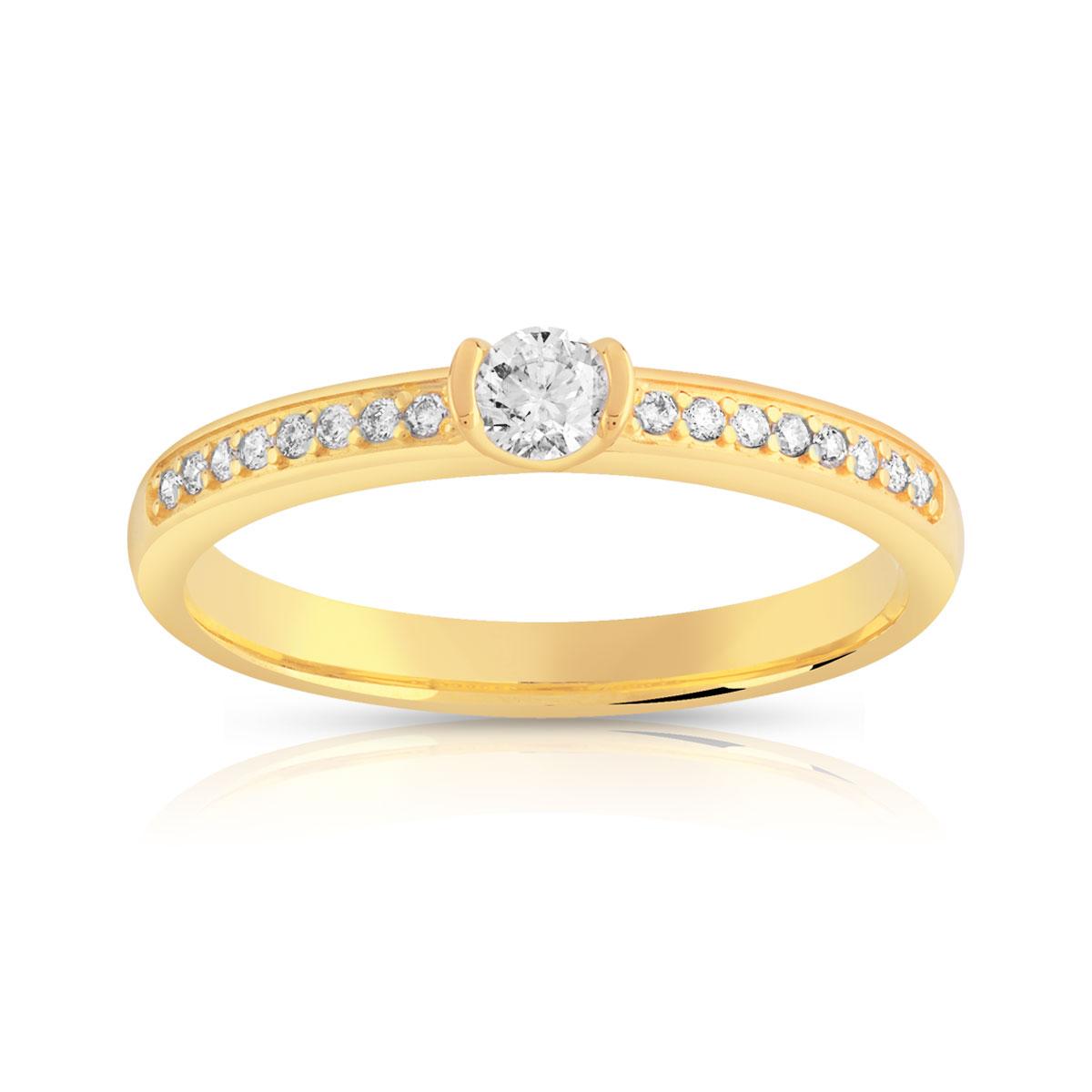 bague solitaire or 750 jaune diamant 20 100e de carat. Black Bedroom Furniture Sets. Home Design Ideas