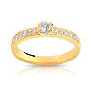 Bague solitaire or 750 jaune diamant 40/100e de carat