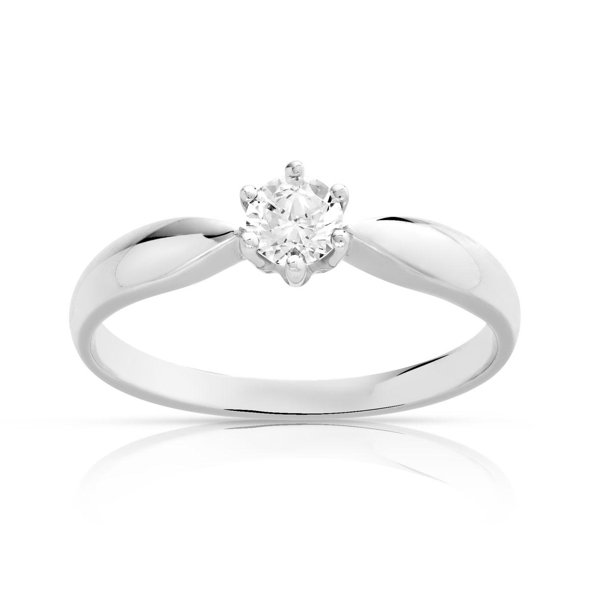 plus récent 5ac29 4ee48 Bague solitaire or 750 blanc diamant 25/100e de carat