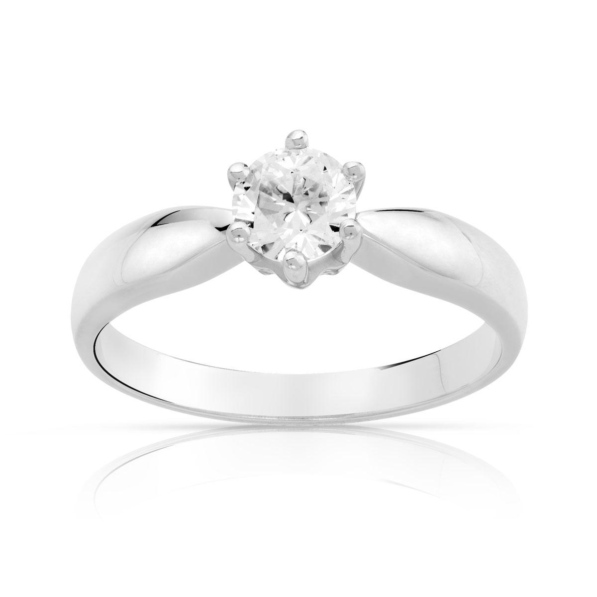 bague solitaire or blanc diamant 1 carat