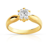 Bague solitaire or 750 jaune diamant 1 carat