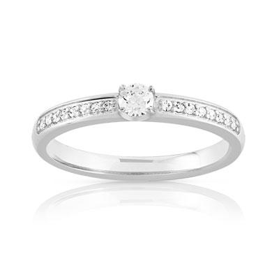 code promo f7e0a 4f8a6 Bague solitaire or 750 blanc diamant 20/100e de carat