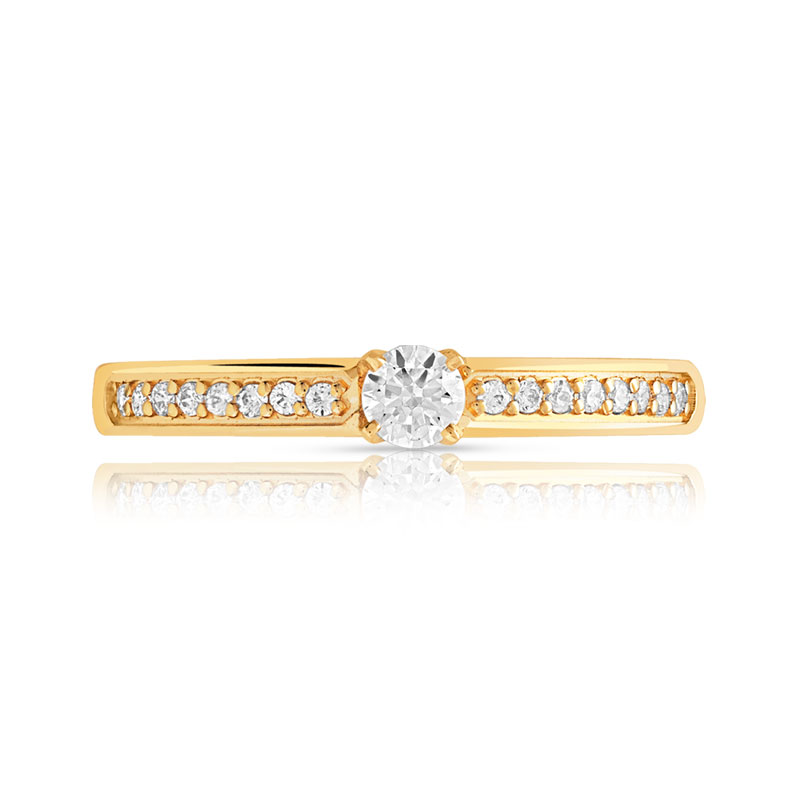 Bague solitaire or 750 jaune diamant 30/100e de cart - vue V3