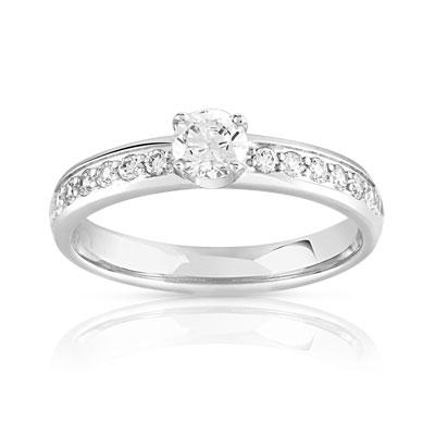 meilleur service 7cac9 dae6a Bague solitaire or 750 blanc diamant 50/100e de carat