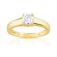 Bague solitaire or 750 jaune diamant 50/100e de carat