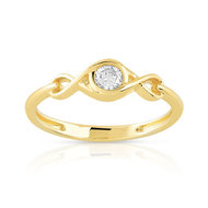 Bague solitaire or 750 jaune diamant 15/100e de carat