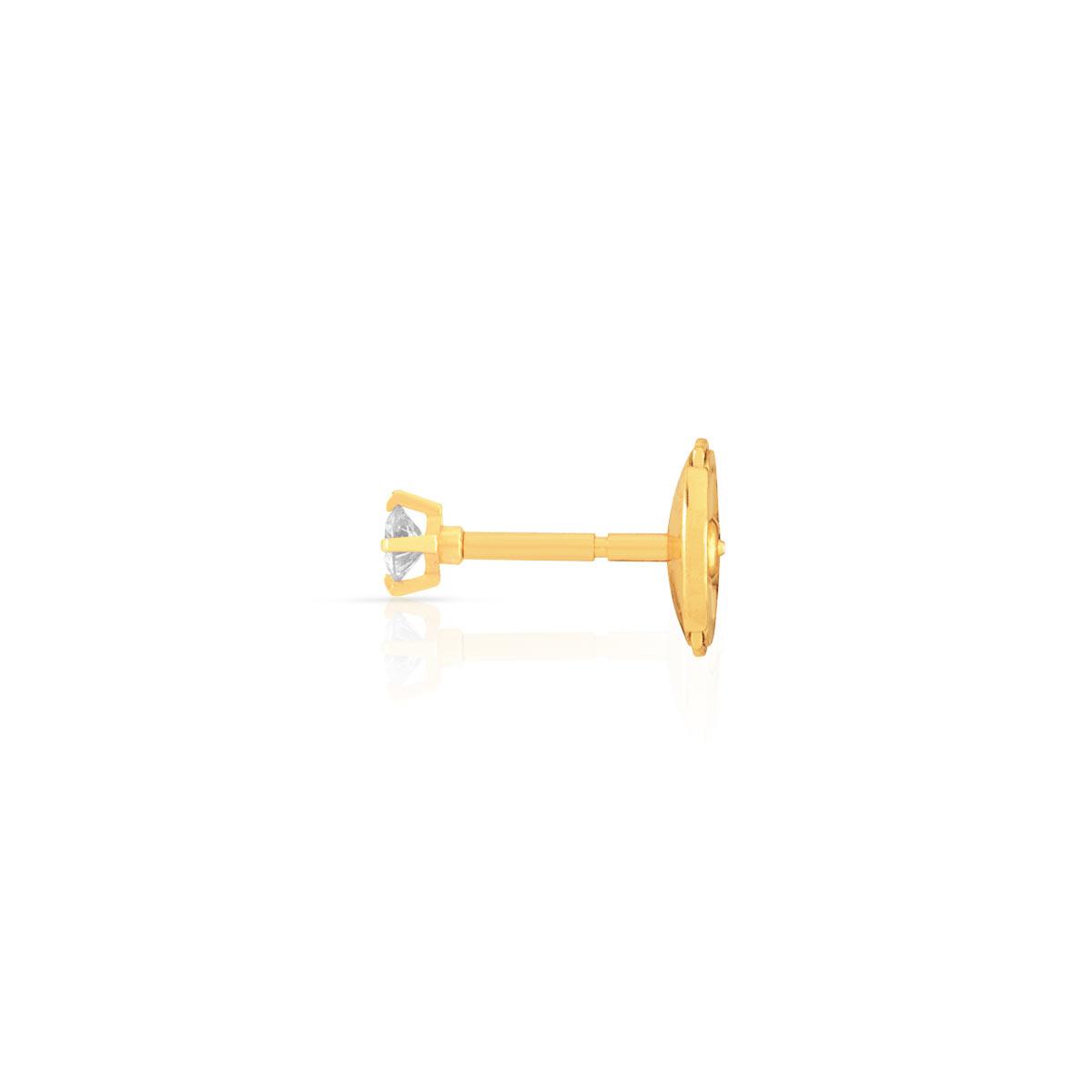boucle d 39 oreille or 750 jaune diamant femme clous d. Black Bedroom Furniture Sets. Home Design Ideas