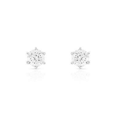Boucles d'oreilles or 750 blanc diamant