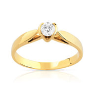Bague solitaire or 750 jaune diamant 20/100e de carat