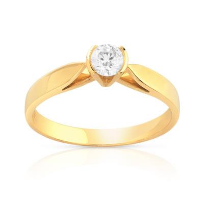 bague solitaire or 750 jaune diamant 25 100e de carat femme solitaire maty. Black Bedroom Furniture Sets. Home Design Ideas