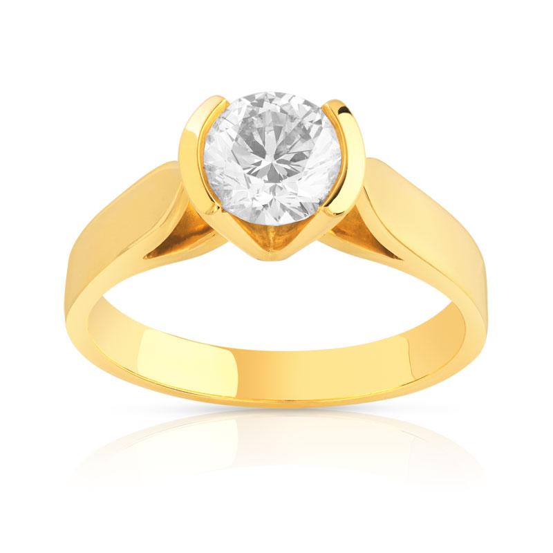 bague solitaire or 750 jaune diamant 1 carat femme solitaire maty. Black Bedroom Furniture Sets. Home Design Ideas