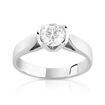bague or blanc et diamant solitaire