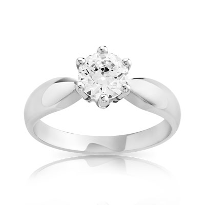 Bague solitaire or 750 blanc diamant 80/100e de carat