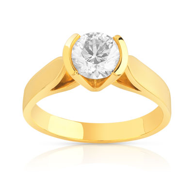bague solitaire or 750 jaune diamant 1 carat femme solitaire maty. Black Bedroom Furniture Sets. Home Design Ideas