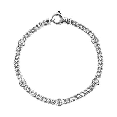 Bracelet or 750 blanc diamants - vue 1