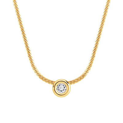 Collier or 750 jaune diamant - vue 1