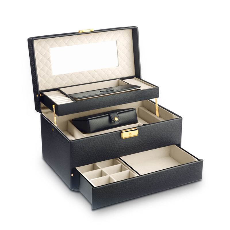 coffret bijoux cuir imitation noir femme id es cadeaux maty. Black Bedroom Furniture Sets. Home Design Ideas