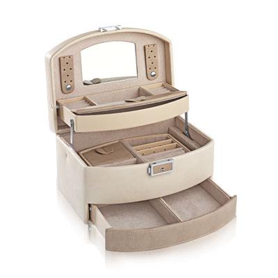 coffret bijoux cuir imitation beige vue 1. Black Bedroom Furniture Sets. Home Design Ideas