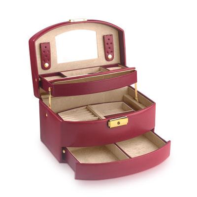 coffret bijoux cuir imitation bordeaux femme id es cadeaux maty. Black Bedroom Furniture Sets. Home Design Ideas
