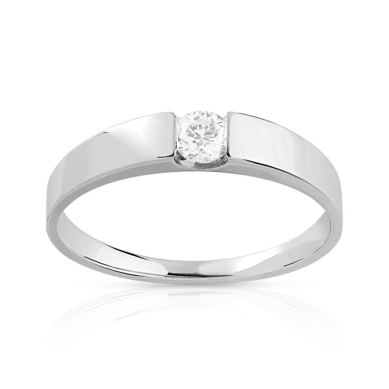 en soldes 83044 6cd35 Bague solitaire or 750 blanc diamant 15/100e de carat