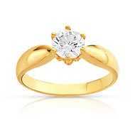 Bague solitaire or 750 jaune diamant 80/100e de carat