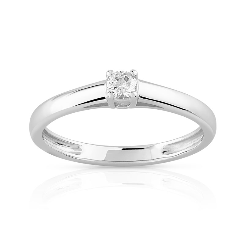 maty bague solitaire or blanc