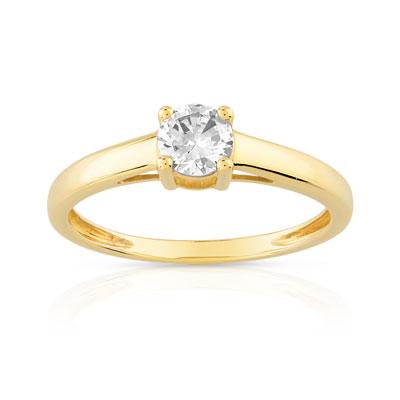 pas mal 5cf49 5c463 Bague solitaire or 750 jaune diamant 40/100e de carat