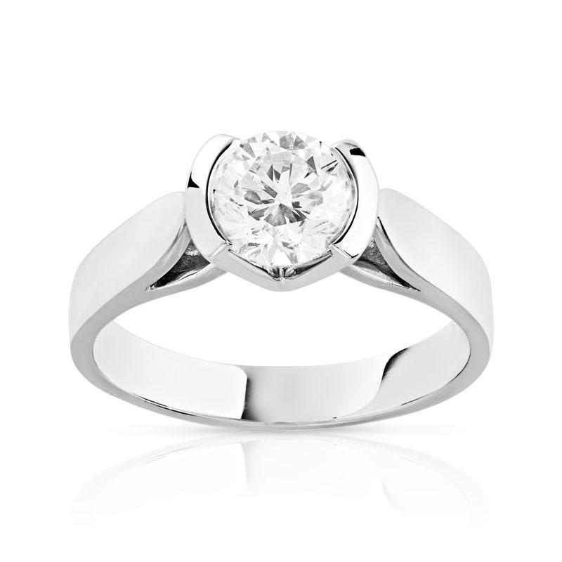 nouvelle arrivee 7a3aa b703b Bague solitaire or 750 blanc diamant 1 carat