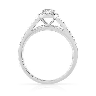 Bague et Alliance demi-tour or 750 blanc diamant - vue V2
