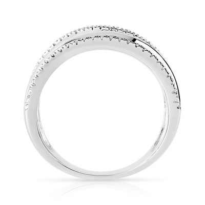 Bague or blanc diamants - vue 2