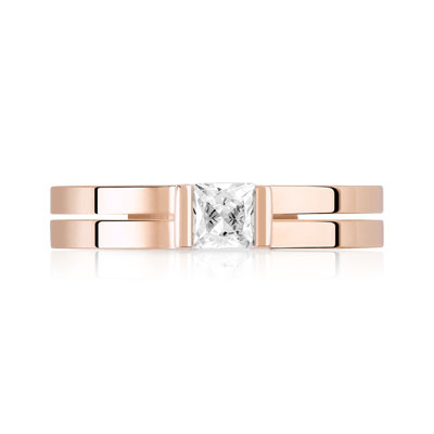 Bague or 750 rose diamant - vue 3