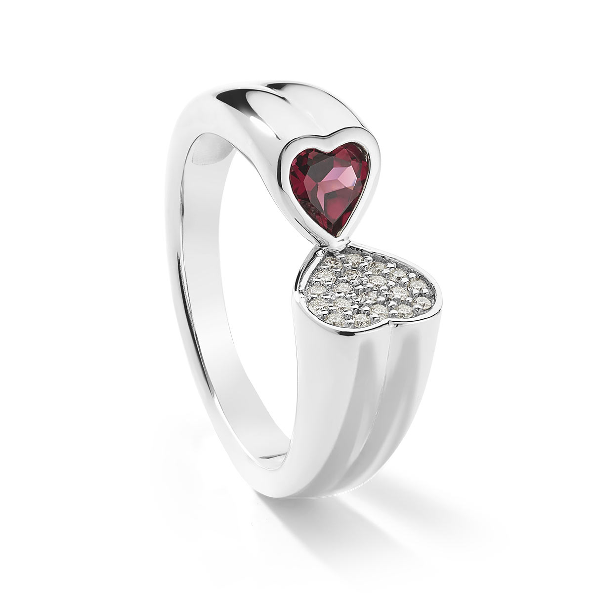 Bague or blanc 750 grenat rhodolite diamants - vue V1