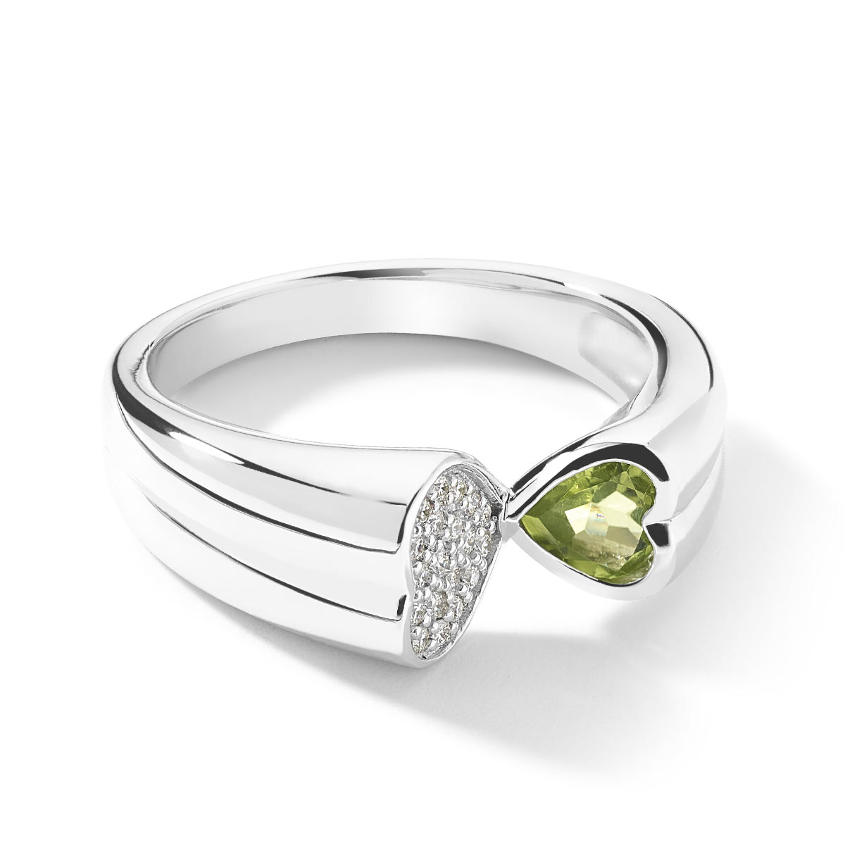 Bague or blanc 750 peridot diamants