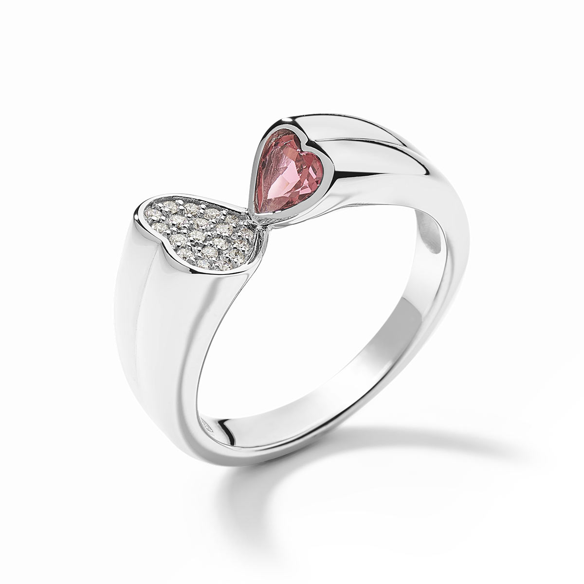 Bague or blanc 750 tourmaline rose diamants - vue 1