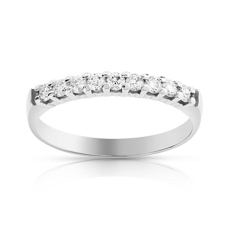 Alliance demi tour or 750 blanc diamant - Femme - 9 diamants  MATY