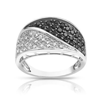 531955ee035 Bague or 750 blanc diamant noir et diamant blanc - Femme - Bague